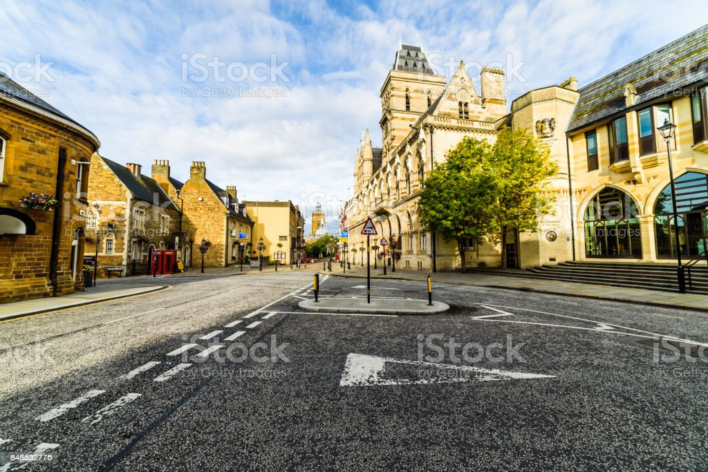Gothic architecture of Northampton Guildhall building, England. stock photo