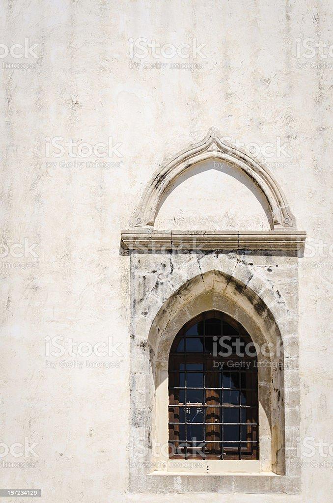 Gothic architecture window detail stock photo