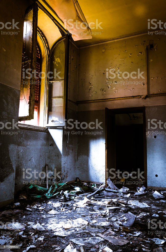 gothic asylum , burnt room stock photo