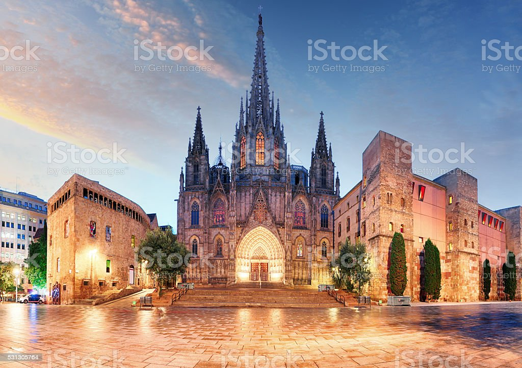 Gothic Barcelona Cathedral at night, Spain stock photo