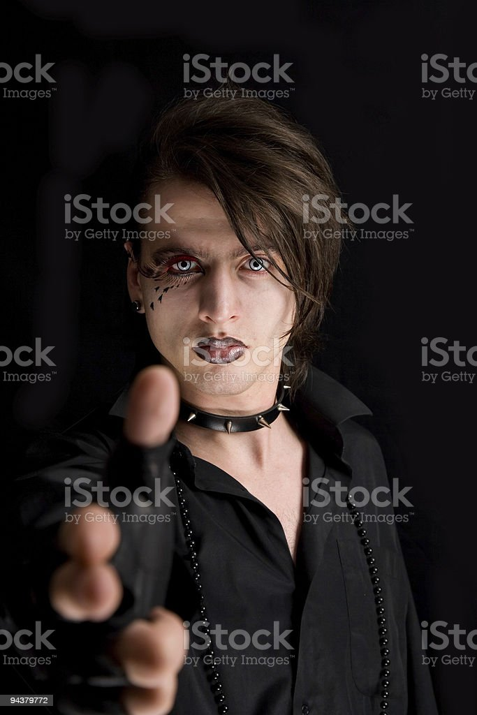 Gothic boy with artistic make-up royalty-free stock photo