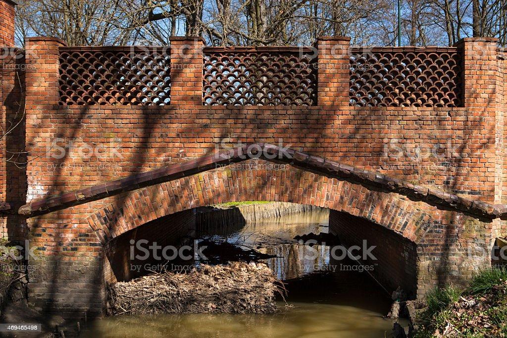 Gothic brick bridge stock photo