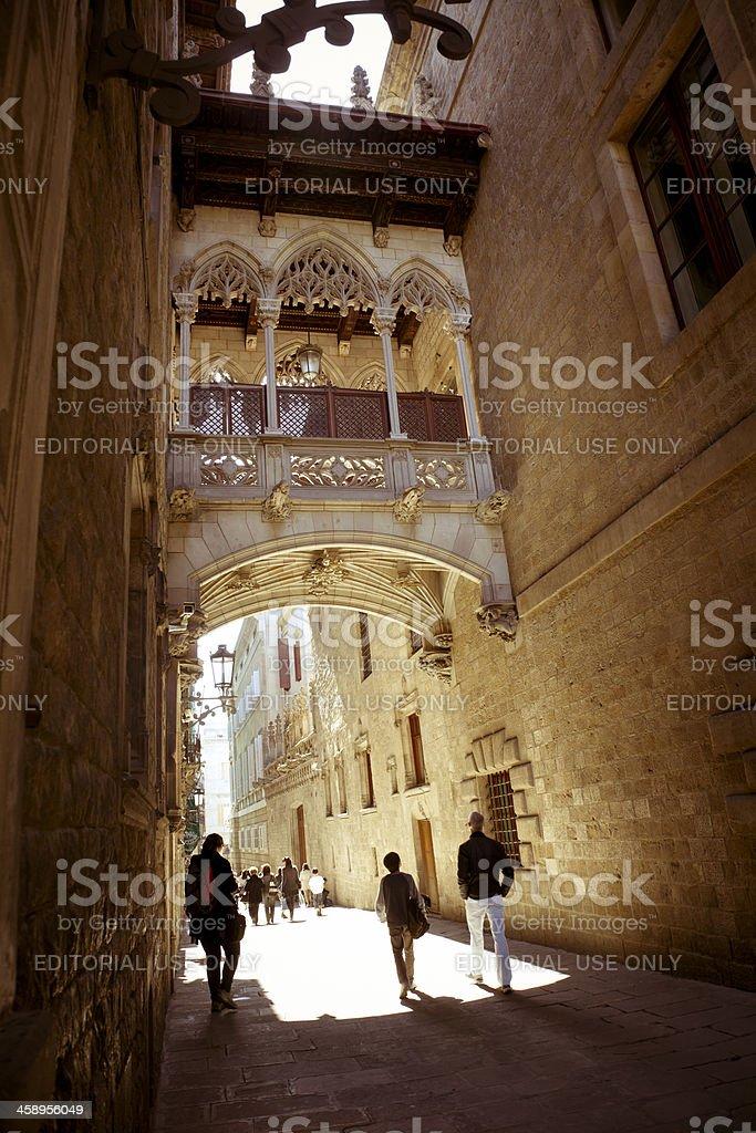 Gothic bridge in Barri Gotic quarter Barcelona stock photo