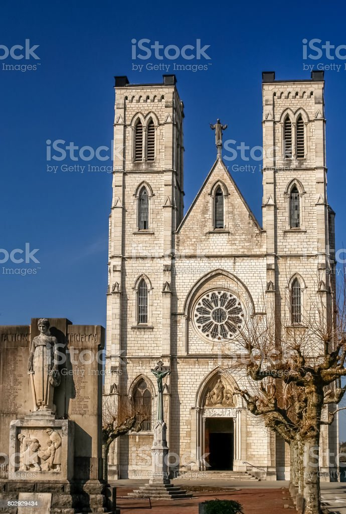 Gothic cathedral in France stock photo