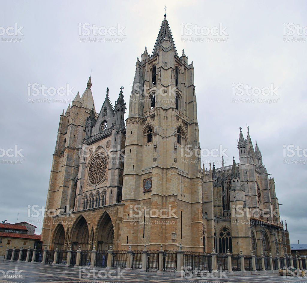 Gothic cathedral in Leon stock photo