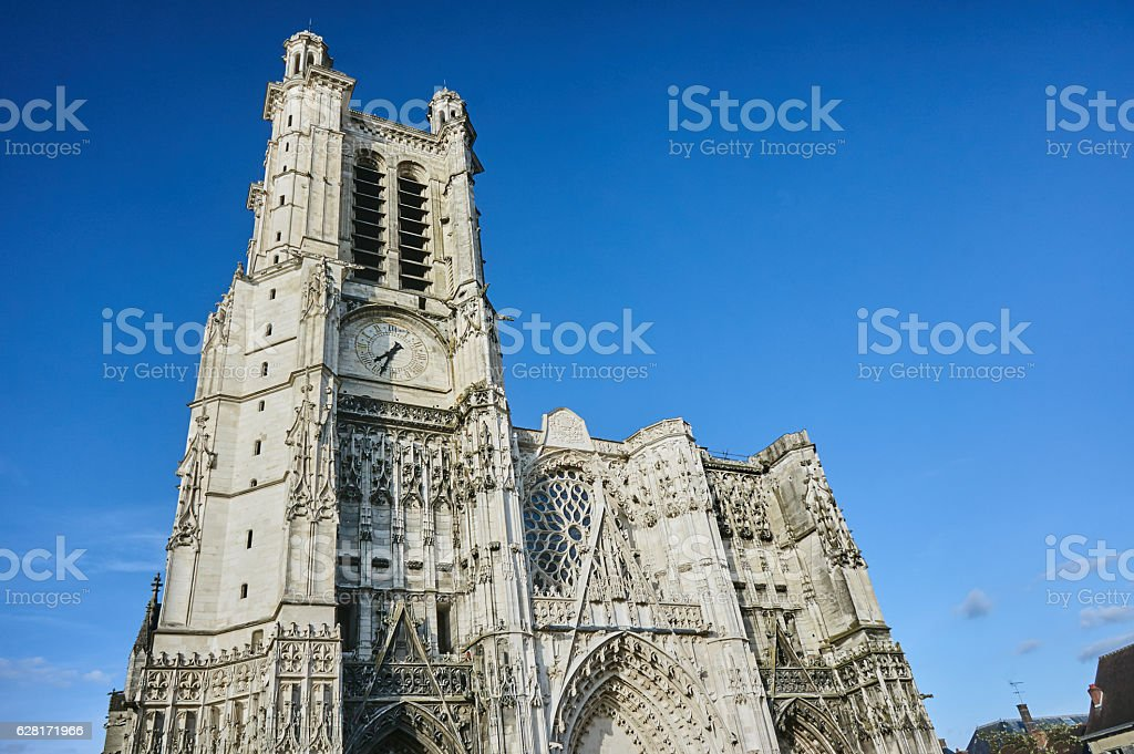 Gothic Cathedral  in Troyes stock photo