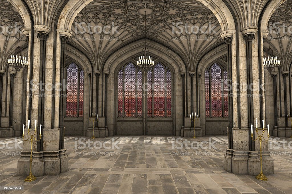 Gothic cathedral interior 3d illustration vector art illustration