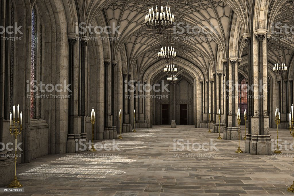 Gothic cathedral interior 3d illustration stock photo