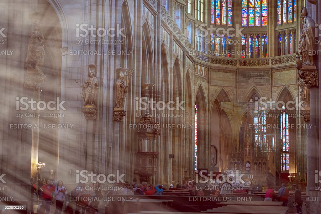 Gothic cathedral of Saint Vitus - Rotunda of St. Vitus stock photo