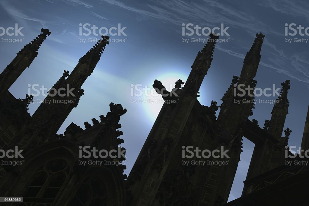 Gothic cathedral spires stock photo