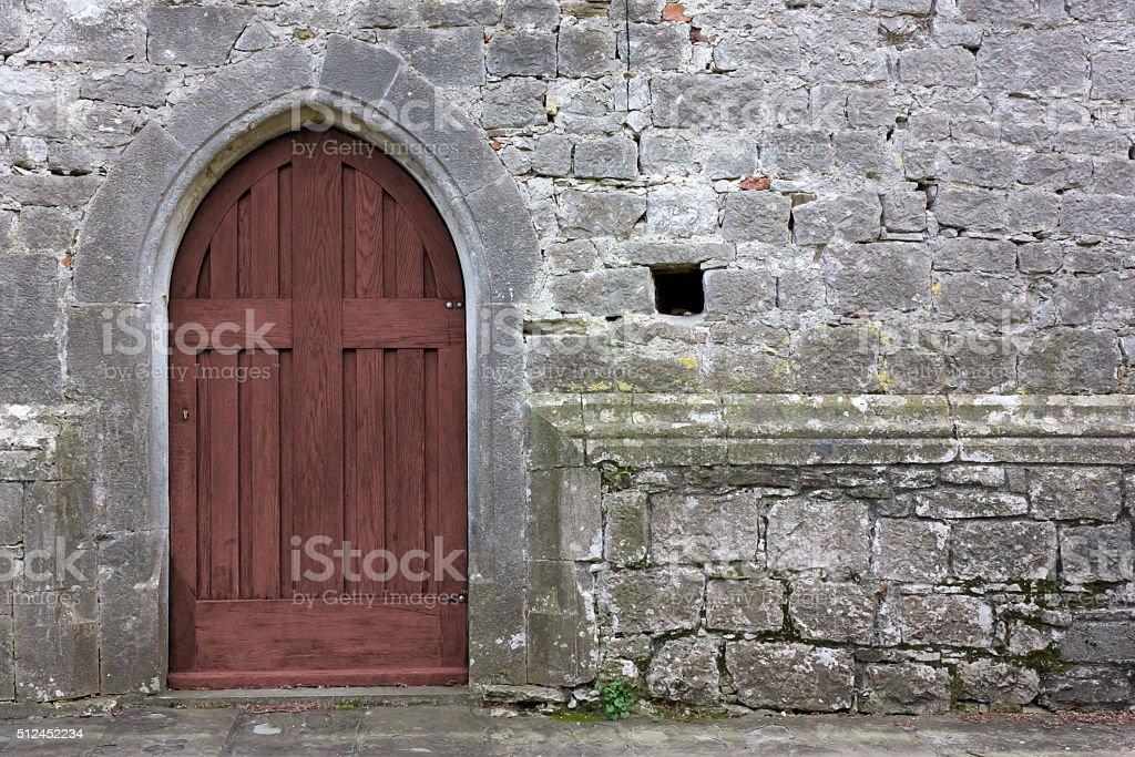 Gothic Church Back Door stock photo