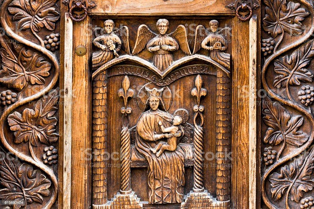 Gothic church door Italy stock photo