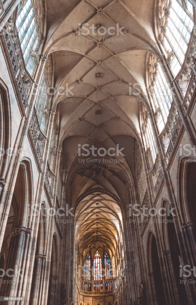 Gothic Church in Prague. St. Vitus Cathedral stock photo