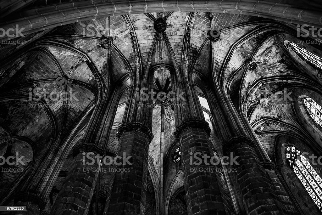 Gothic church interior stock photo
