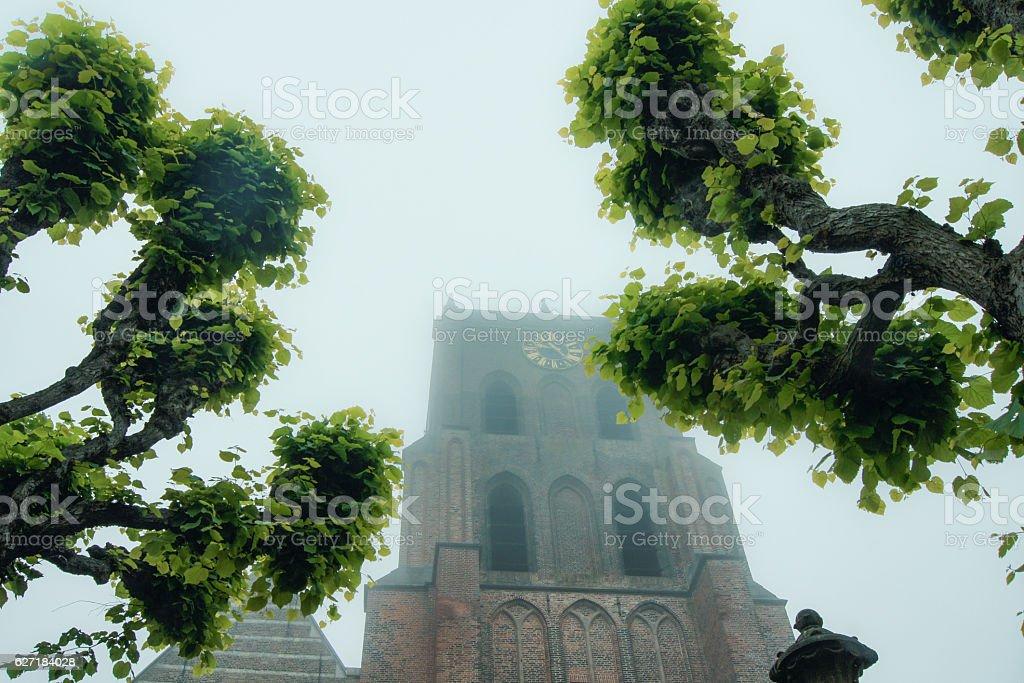 Gothic church tower stock photo