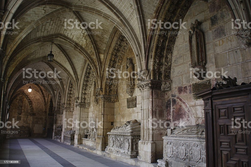 Gothic cloister in Spain royalty-free stock photo