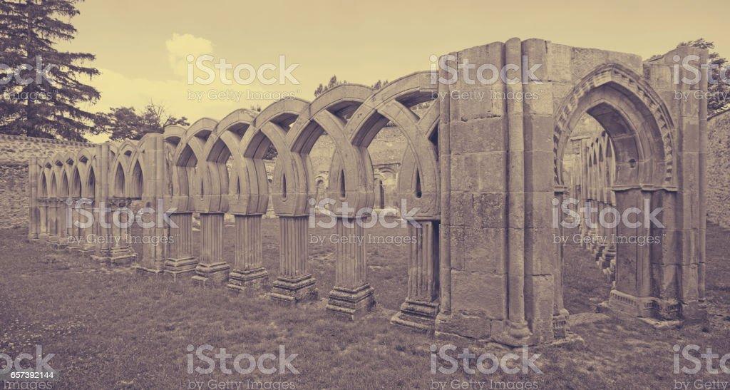 Gothic cloister of San Juan de Duero Monastery in Soria stock photo