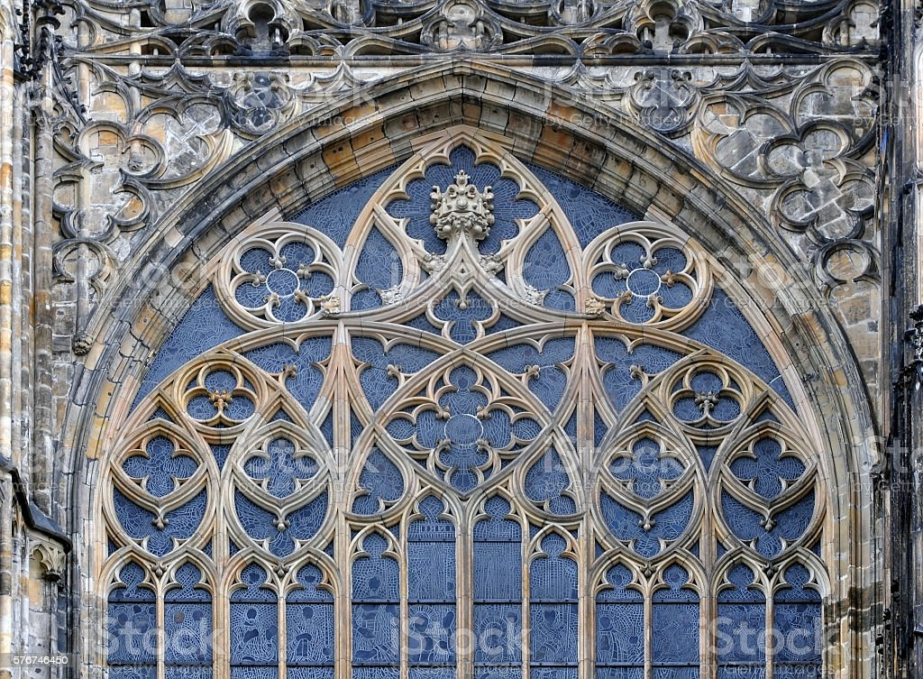 Gothic detail of window. stock photo