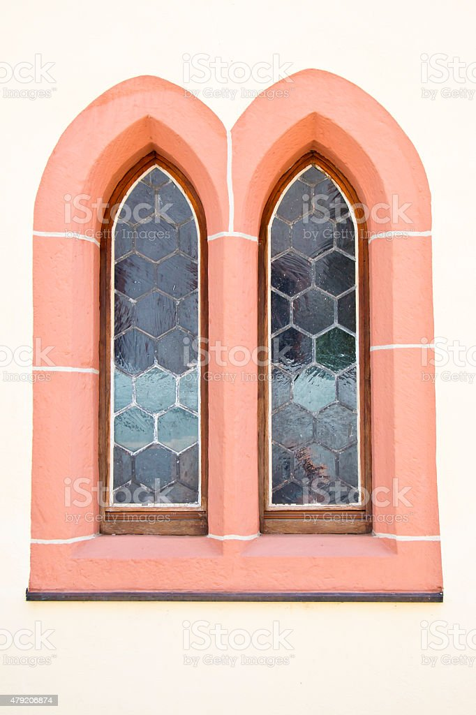 Gothic Double Window stock photo
