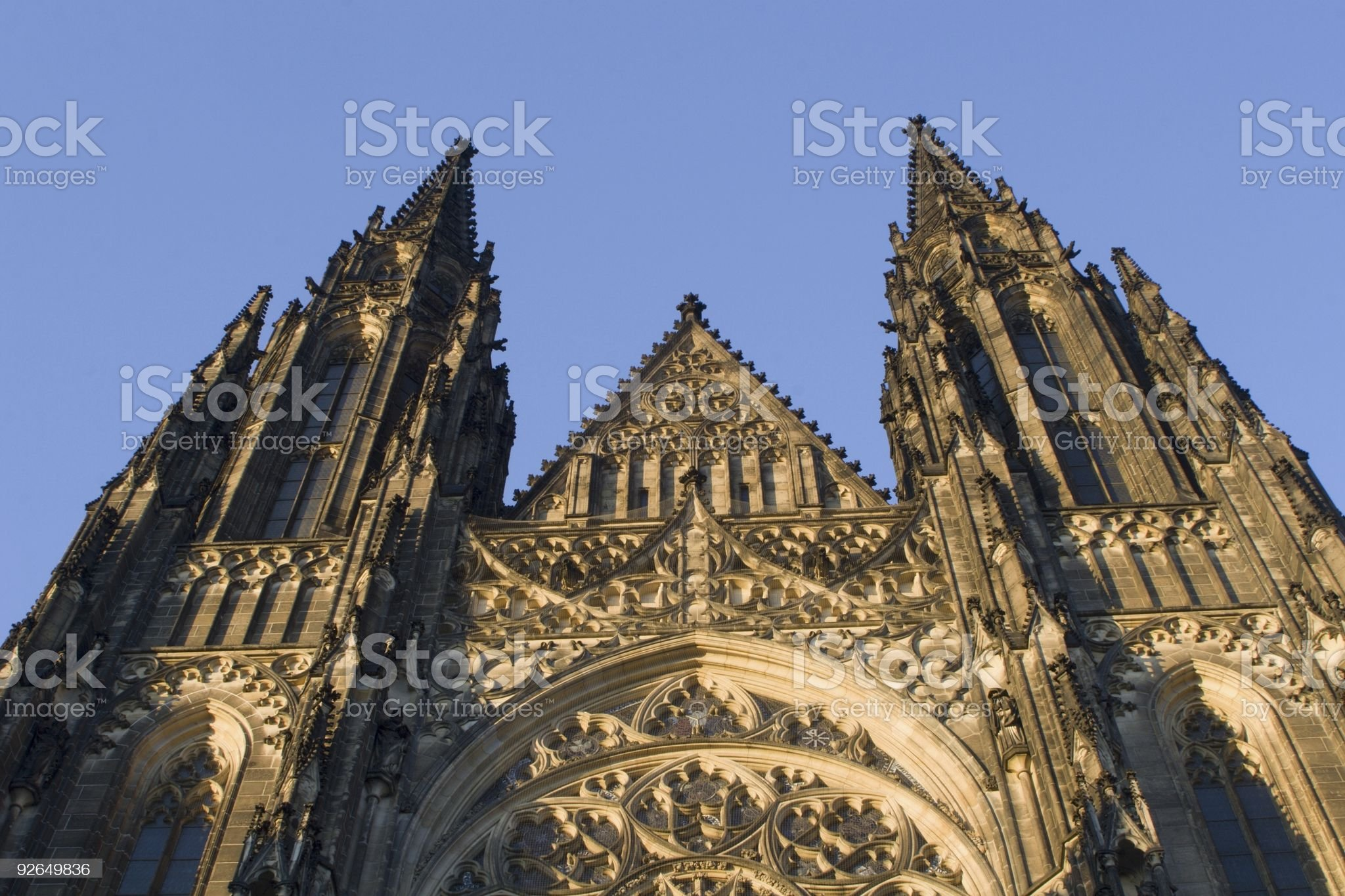 gothic facade from prague in sunset royalty-free stock photo