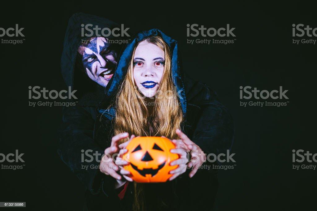 Gothic Girl Attavked by Scary Demon stock photo