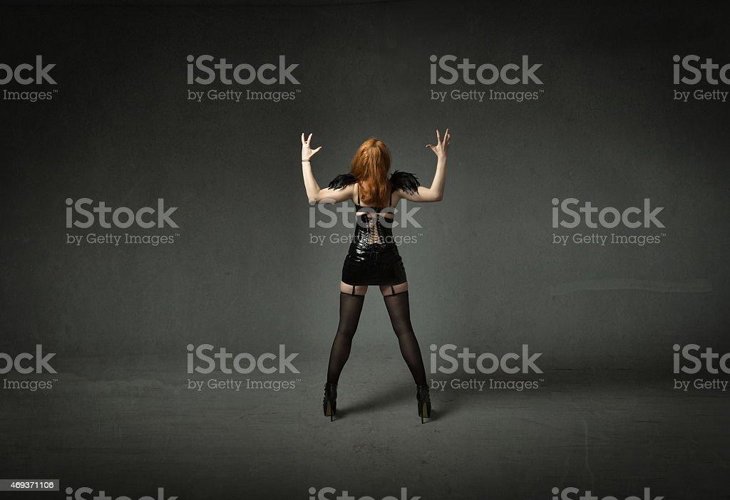 gothic girl back side scream stock photo