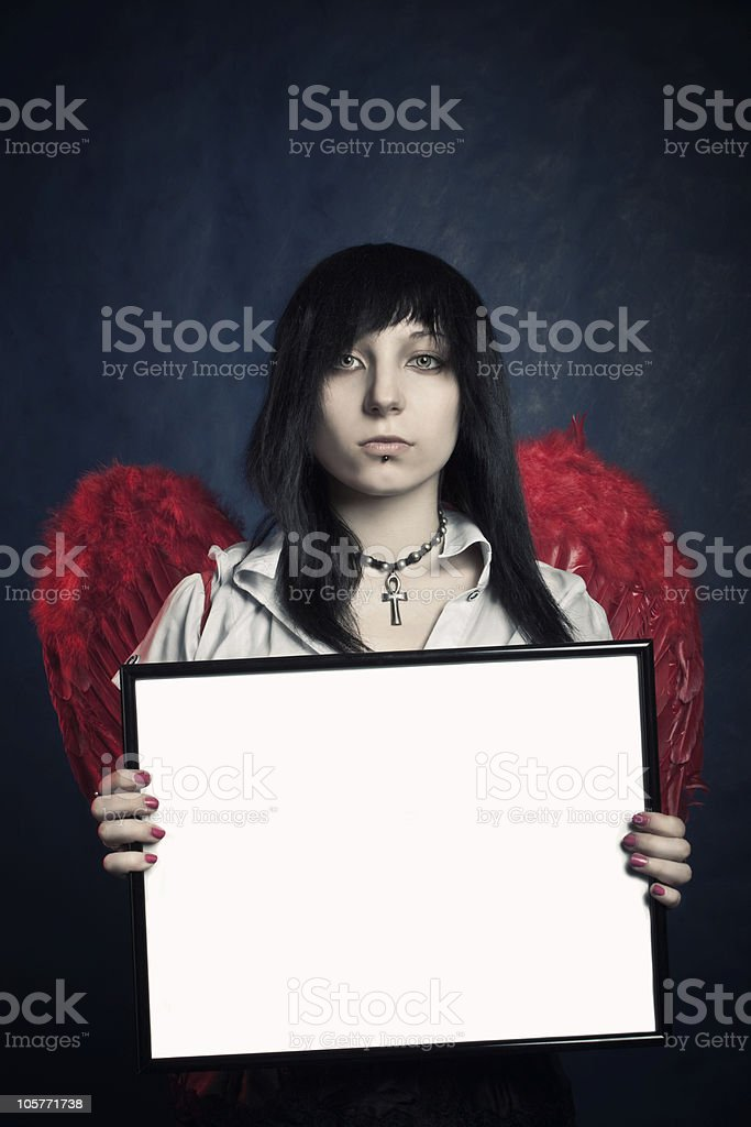 Gothic girl with frame royalty-free stock photo