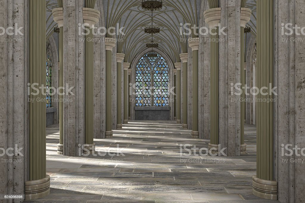 Gothic hall interior 3d illustration stock photo