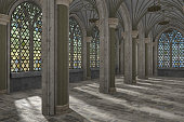 Gothic hall interior 3d illustration
