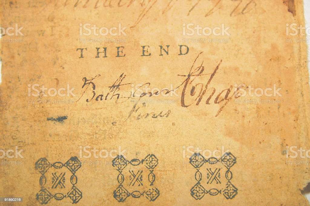 Gothic handwriting on parchment royalty-free stock photo