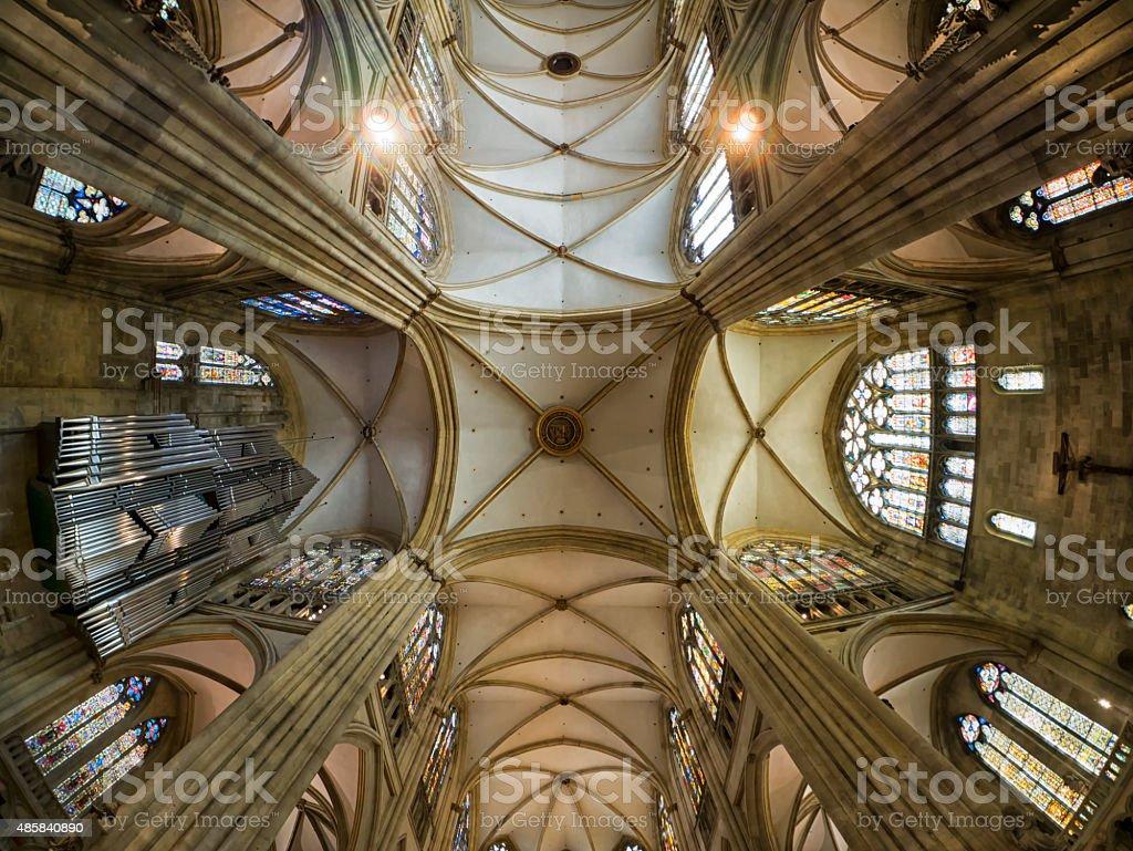 Gothic interior of Regensburg St. Peter stock photo