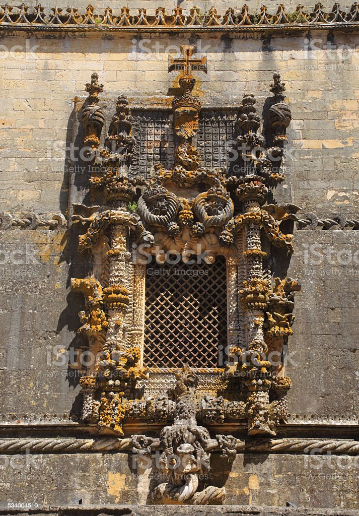 Gothic Manueline chapter house window. Tomar, Portugal. stock photo