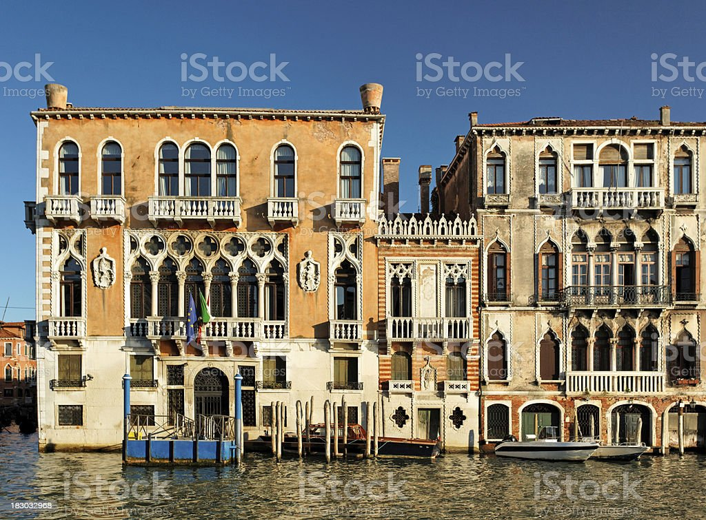Gothic palaces along the Grand Canal royalty-free stock photo