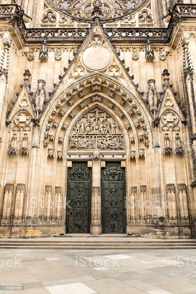 Gothic portal of  Saint Vitus Cathedral stock photo