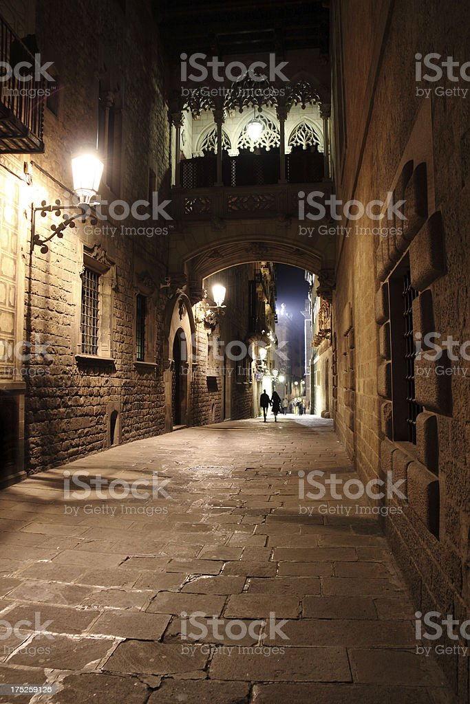Gothic Quarter in Barcelona at Night stock photo