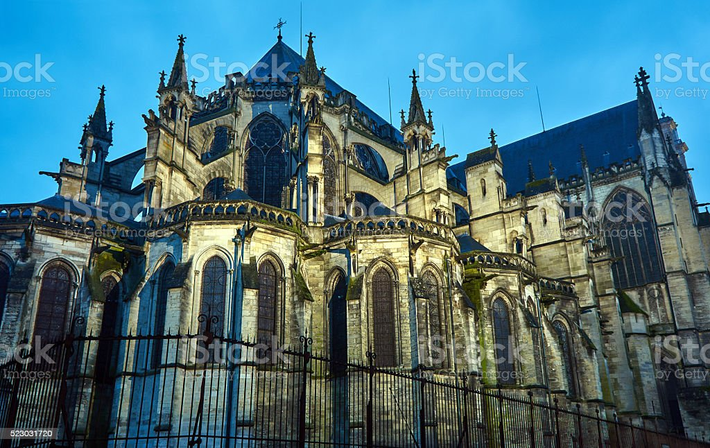 Gothic Saint-Pierre-et-Saint-Paul Cathedral in Troyes at night stock photo