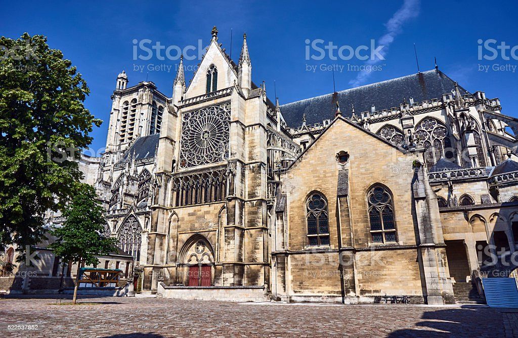 Gothic Saint-Pierre-et-Saint-Paul Cathedral in Troyes stock photo