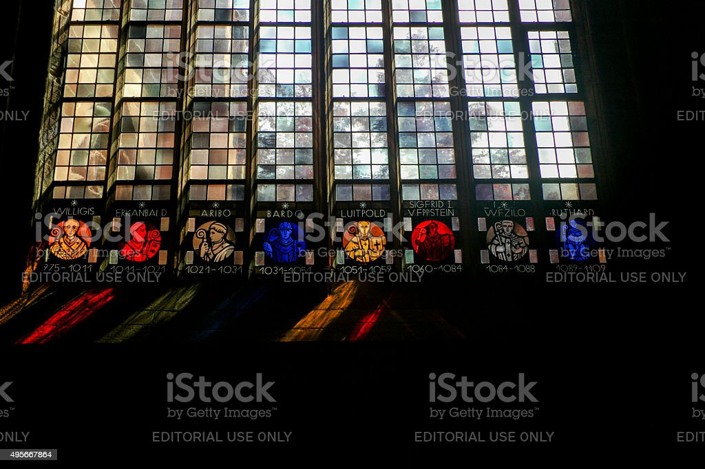 gothic stained glass windows in historical cathedral at mainz germany stock photo