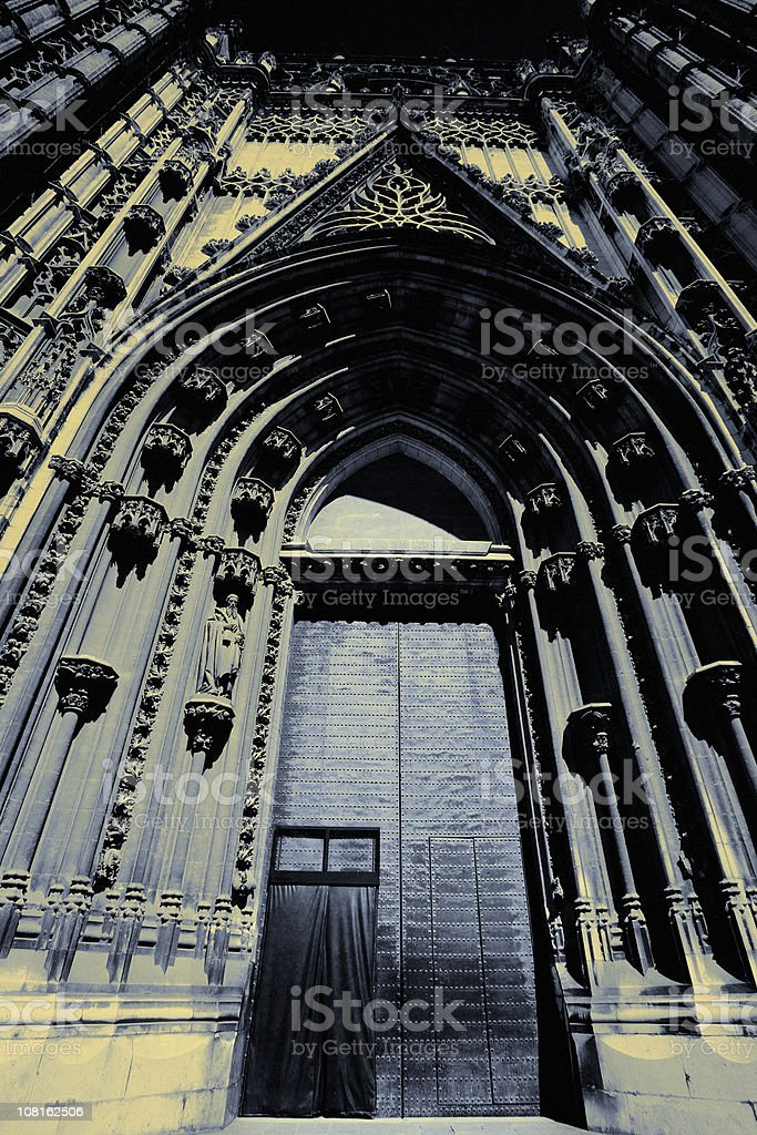 Gothic Style Cathedral Door in Daylight stock photo