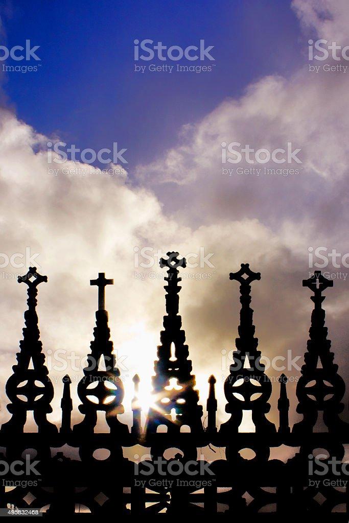 Gothic style cemetery crosses in Lugo , Galicia,Spain. stock photo