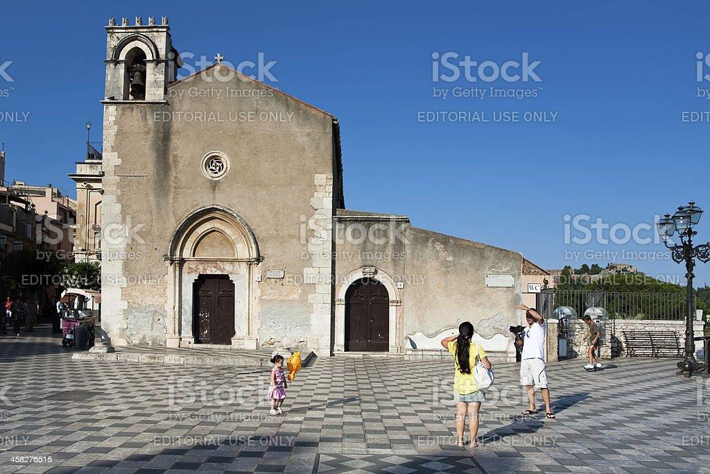 Gothic style church Sant Agostino in Taormina, Sicily stock photo