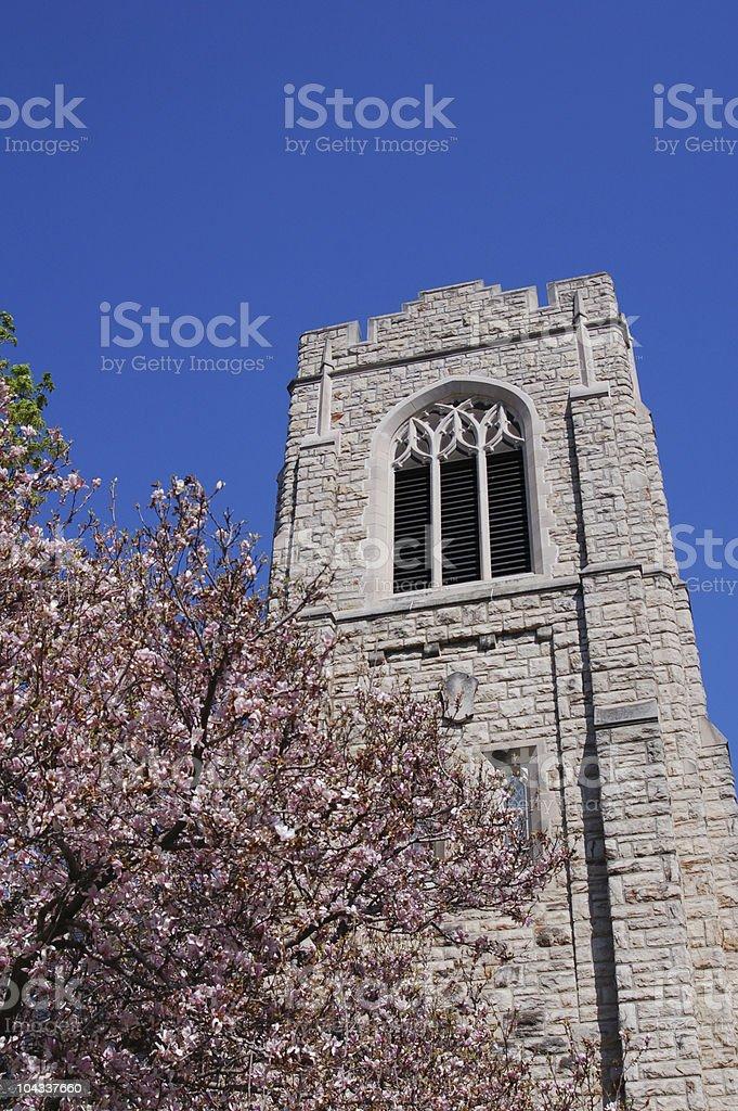 Gothic Style Church Tower stock photo