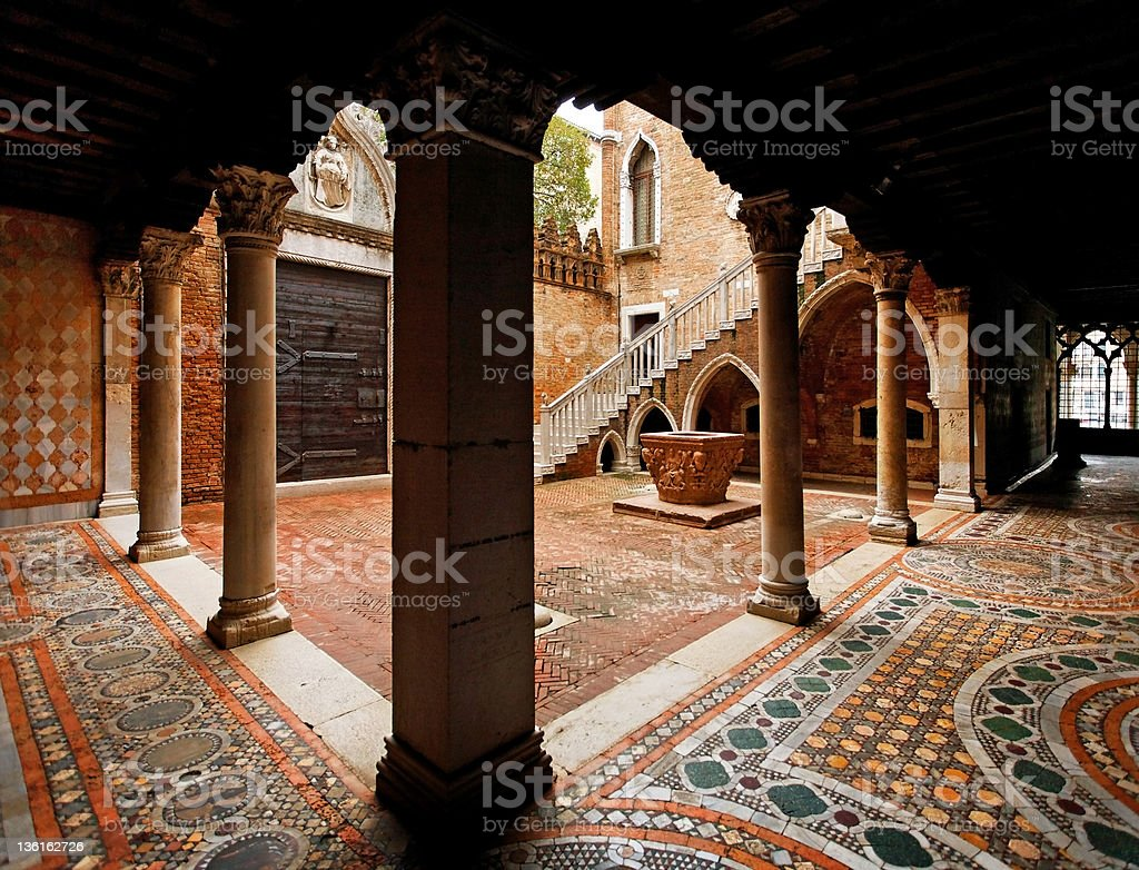 Gothic style courtyard of a palace in Venice stock photo