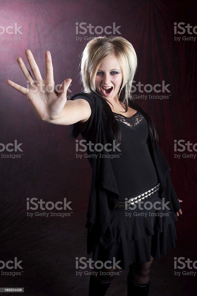 Gothic Teenage Girl Screaming Stop royalty-free stock photo