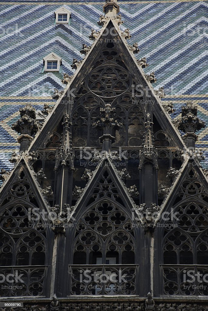 gothic tile roof and window stock photo
