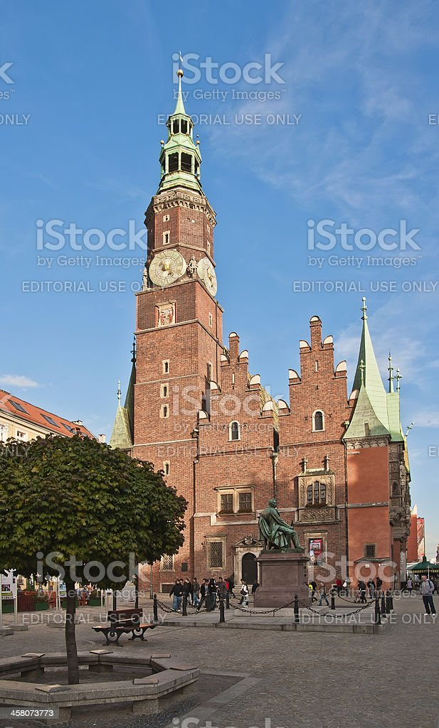 'Gothic Town Hall on the Market Square in Wroclaw, Poland' stock photo