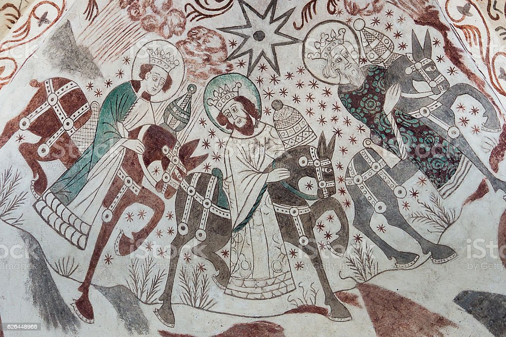 Gothic wall painting of the Epiphany stock photo