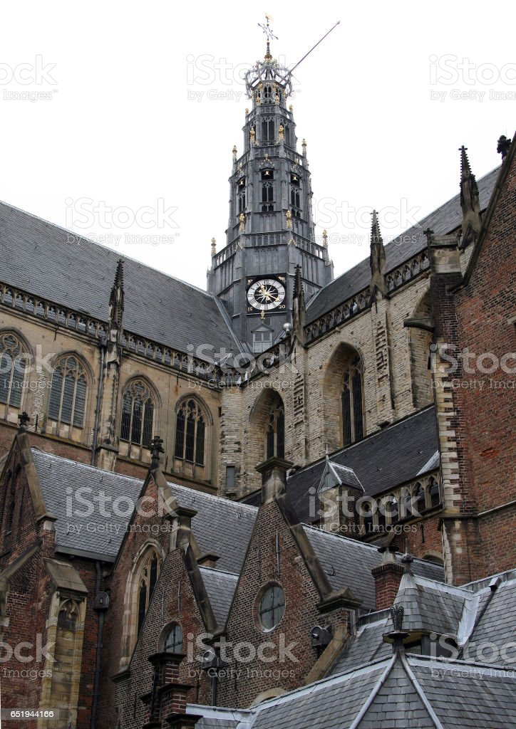 Gothic walls of the Grote Kerk or St.-Bavokerk in Haarlem, Netherlands stock photo