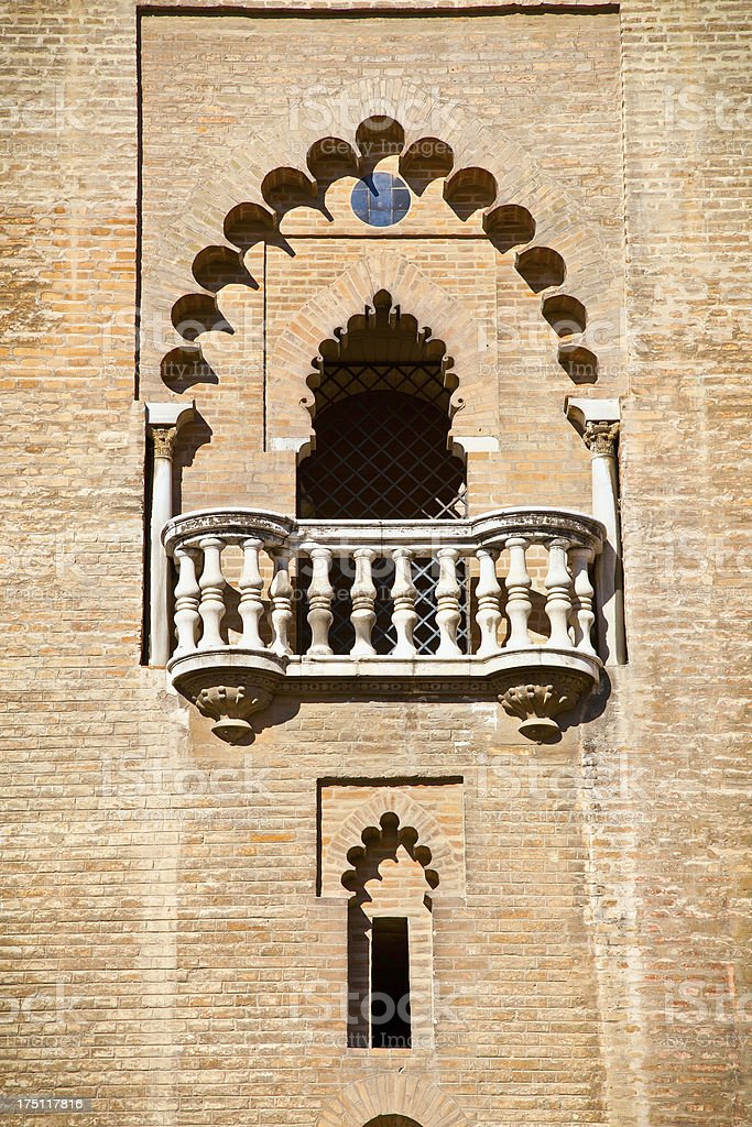 Gothic window in the medieval cathedral of Seville royalty-free stock photo