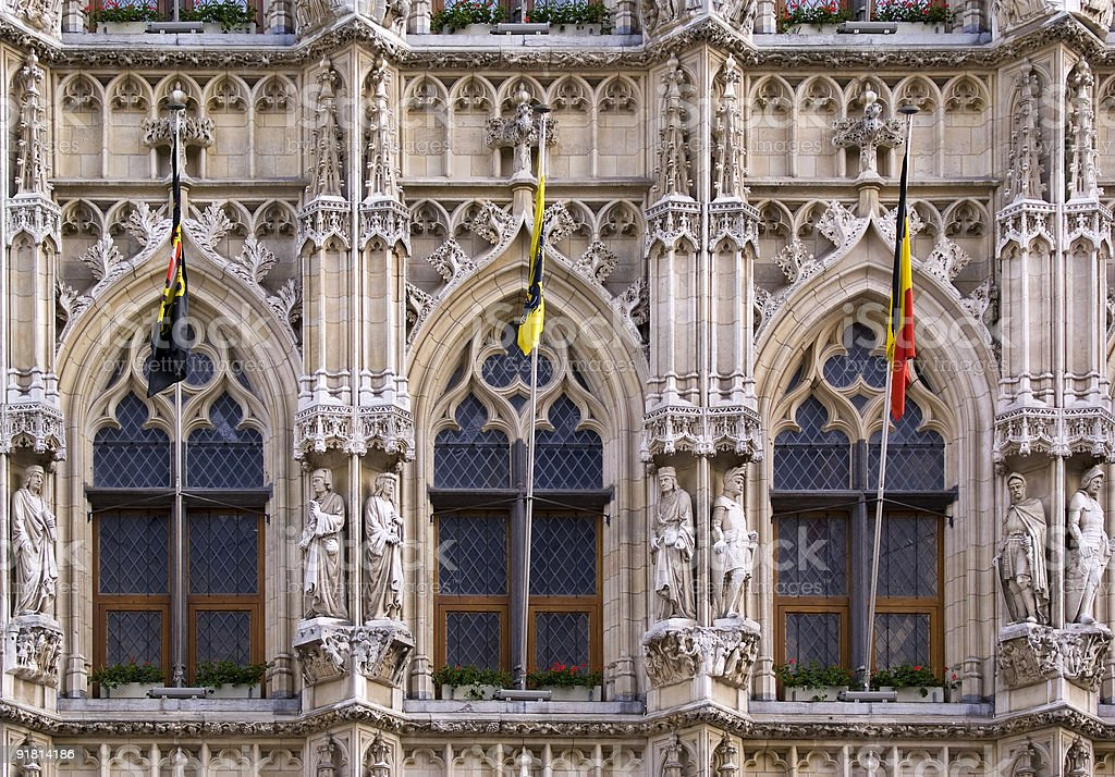 Gothic Windows with flags royalty-free stock photo